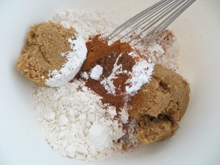Mix sugars, flour, spices